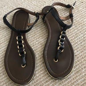 Aldo Black and Gold Sandals